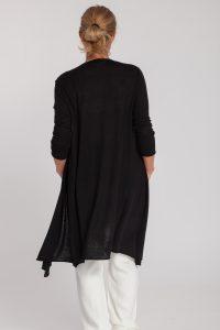 chaqueta larga-mujer-cashmere ultrafino-color negro-detras-again cashmere