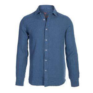 camisa lino- hombre-color azul tejana-again cashmere